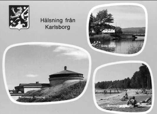 a7571eea188e Karlsborg, motiv av Göta kanal, fästningen och campingplatsen vid  Bottensjön. Vykort.